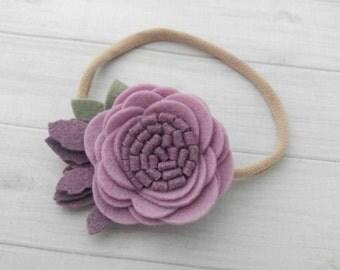 Wool Felt  Rose Headband or Hairclip- Lilac Purple-  On Nylon Headband - Baby Headbbands - Newborn Headbands