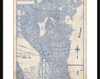 Seattle Map 1944 Street Map Vintage Blueprint  Grunge Print Poster