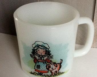 Vintage McKee Glasbake Milk Glass Friendship Coffee Mug/ White Holly Hobbie  Jeanette Glass Co Mug