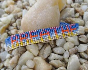 SALE OOAK Beaded leather bracelet - Breathe / Ocean - blue ombre fringe tassel inspirational beach yoga boho by slashKnots