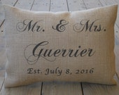 Rustic Wedding Burlap Pillow, Personalized Mr. Mrs. name and date, bridal, anniversary, INSERT INCLUDED