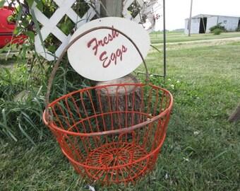Vintage Orange Wire Coated Egg Basket      Authentic Wire Egg Gathering Basket
