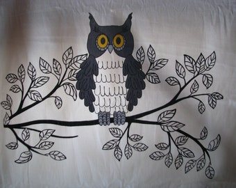 Cotton Fabric By Yard- Woodland OWL Scandinavian Design- Professional Print- For Curtains, Roman Blinds, etc.