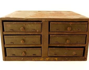 Vintage Industrial Heiz & Heiz No. 6 E Handy Build-Up Cabinet Hardware Bin with 6 Drawers  (c.1920s) - Industrial Storage