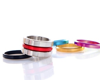 Iskin Nut Ring - 5 Colors Interchangeable Ring Set - Contemporary Jewelry - Stainless Steel