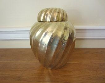 Vintage brass ginger jar.  Brass urn.  Hollywood Regency style brass urn decor.