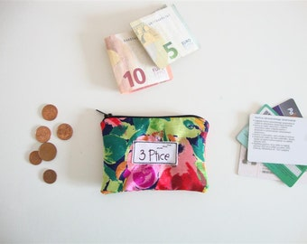 Coin Purse, Artsy Floral Zipper Pouch for Cards and Coin, Zipper Coin Purse, Mini Zipper Wallet, Eco Friendly, Made in Europe, by 3 Ptice