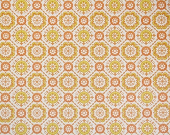 Vintage Wallpaper by the Yard 70s Retro Wallpaper - 1970s Orange and Yellow Geometric on White