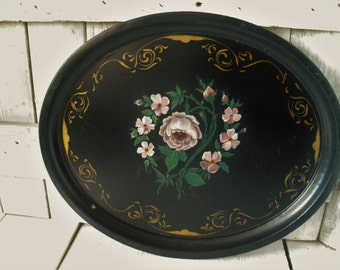 Vintage metal tray oval black floral hand painted lipped Cottage Shabby Chic 1950s- free shipping US