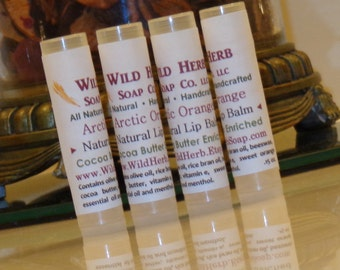 NATURAL LIP BALM: Arctic Orange - Sweet with a menthol burst! Includes rich organic cocoa butter
