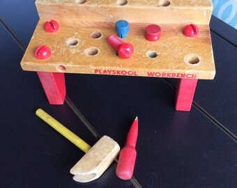 Vintage wood playskool workbench wood hammer, screwdriver,pegs and screws
