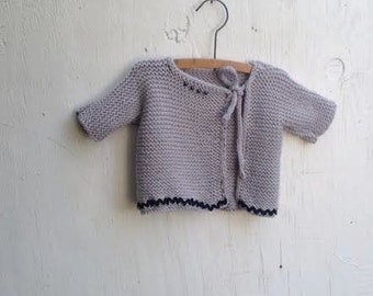 Summer ooak baby prairie hand knit grey gray ric rack vintage buttons cardigan sweet shower ooak rustic sweater gift