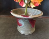 Tiny pottery ikebana ~ Sweet hand-made tiny vase ~ hand-thrown pottery ~ red and light green glazes