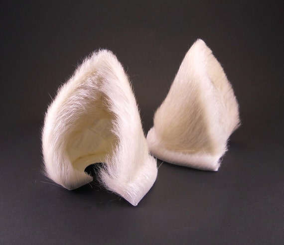 Warm White Fur Leather Wolf Dog Fox Ears Inumimi Kitsune Fairy Cosplay Furry Goth Fantasy LARP Costume Pet Play