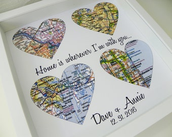 Wedding Day Gift Map Heart Art FRAMED Groom Bride Any Location Available Worldwide