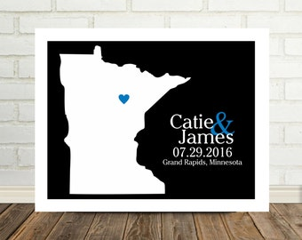 Minnesota Map Wedding Gift Minnesota Print Minnesota Poster Gift for Newlyweds New Home Gift Housewarming Gift State Map Valentines Day Gift