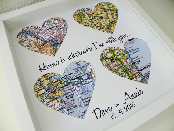 Wedding Day Gift Map Heart Art FRAMED Groom Bride