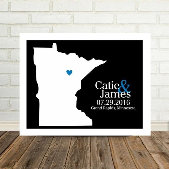 Minnesota Map Wedding Gift Minnesota Print Minnesota Poster Gift for Newlyweds New Home Gift Housewarming Gift State Map Valentines Day Gift