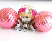 Vintage Christmas Glass Ball Ornaments - Vintage Ornaments - Shabby Chic Holiday Ornaments