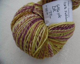 "Handspun Yarn, ""Fig"", 7.9 oz, 646 yds, two ply, DK"