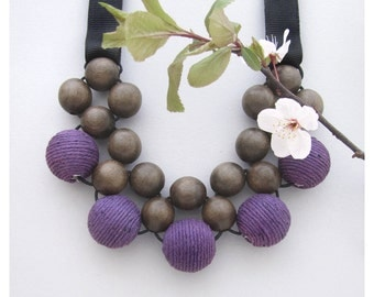 Wood Necklace / Wooden Necklace / Gray Wood Purple with Ribbon Ties / Wooden Bead Necklace / Bib Necklace / Purple Statement Necklace