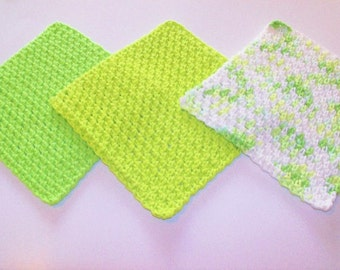 Cotton Dishcloths - Spa Washcloths - Baby Washcloths - Key Lime - Set of 3 in Shades of Lime Green