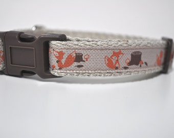 Hemp Webbing Dog Collar  - 'Little Foxes'  - 50% Profits to Dog Rescue - Small to Medium Size