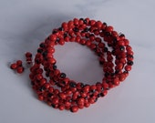 Red Huayruro Seed Memory Wire Bracelet
