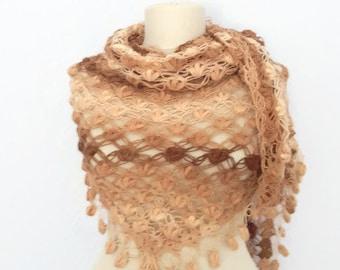 Handmade Crochet Brown Shawl-Free Shipping