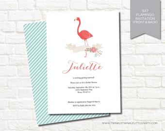 Modern Floral Flamingo Bridal Shower Digital Party Invitation