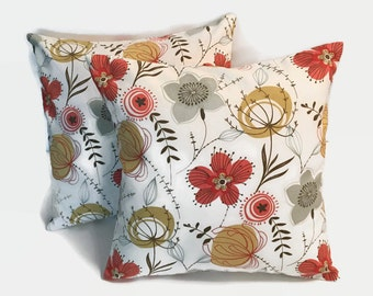 Multicolor Pillow Covers, Cream Floral Pillow Cover, Pillow Covers, 16x16 Pillow Covers, Floral Pillow Covers