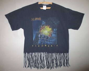 Def Leppard Tee Shirt // Pyromania T Shirt With Fringed Bottom...large