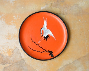 Vintage Asian Lacquerware, Orange and Black Round Lacquer Serving Tray by Nishikawa Japan, Handpainted Crane Stork