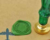 Olive Branch Wreath Wax Seal Stamp brass stamp--WS051