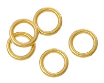 6mm Gold Plated Soldered Closed Jump Rings, 17 gauge, 50 pcs, jum0183a