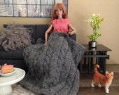 Luxurious Alpaca cable knit throw blanket in grey for sixth scale diorama or doll house
