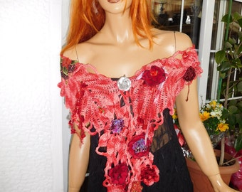 MADE TO ORDER scarf shawl wearable art fairy tale wrap in tie dye cotton embroidered gift idea for her by golden yarn