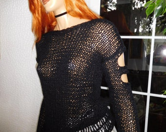 sweater black jumper grunge  beautiful very soft holes at sleeves sexy glove sleeve gift idea for her by golden yarn