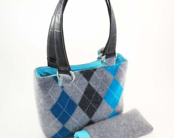 FELTED LAMBSWOOL Purse - Handbag / Gray & Blue ARGYLE w Leather Straps (Ooak) from Upcycled Lambswool Sweater: Nice Christmas-Birthday Gift