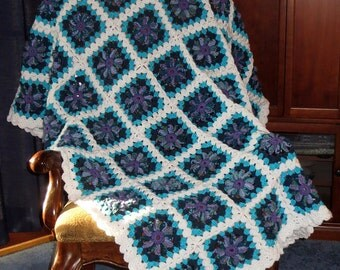 """Large Afghan Blanket - Ocean Spray White Turquoise Teal Purple - Scalloped Border - Bed or Couch Blanket Size 68"""" x 56"""" - Item 4567"""
