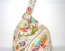 Japanese Knot Bag Handbag Pocketbook Knitting Bag Multi Colored Paisley Knot Bag