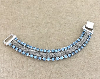 CORO Blue Rhinestone Bracelet - Vintage Coro Mesh Bracelet - 1950s Coro Silver Blue Bracelet
