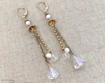 Long Dangle Crystal Earrings - Vintage Upcycled Dangle Earrings - Crystal Pearl Chandelier Earrings - Unique Upcycled Earrings