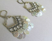 Mother of Pearl Chandelier Dangle Earrings with Leaver Back