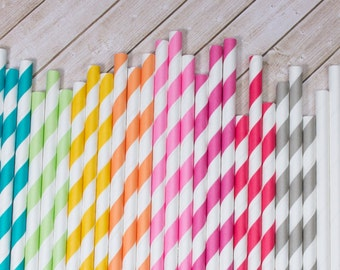 "100 Extra Long vintage barber stripe drinking straws You Choose Color - with FREE Blank Flag Template - see also ""Personalized"" Flags"