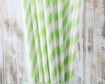 "50 Light Green Extra Long vintage barber stripe drinking straws - with FREE Blank Flag Template - see also ""Personalized"" Flags"