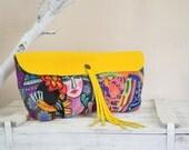 Wife Gift, Frida Kahlo Bag, Frida Peruvian Printed Fabric Canvas Leather Handbag, Colorful Summer Purse Handbag Clutch, Gift, For Her
