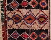 FREE SHIPPING WORLDWIDE TT20077 vintage boucherouite rug, moroccan rugs , rag rug, berber tribal art, morocco carpets, wall art