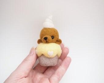 Needle Felted Cupcake Bear.