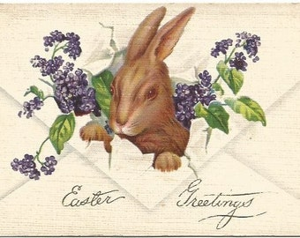 Easter Bunny Popping Through Envelope with Sprays of Lilac Vintage Postcard Easter Greeting